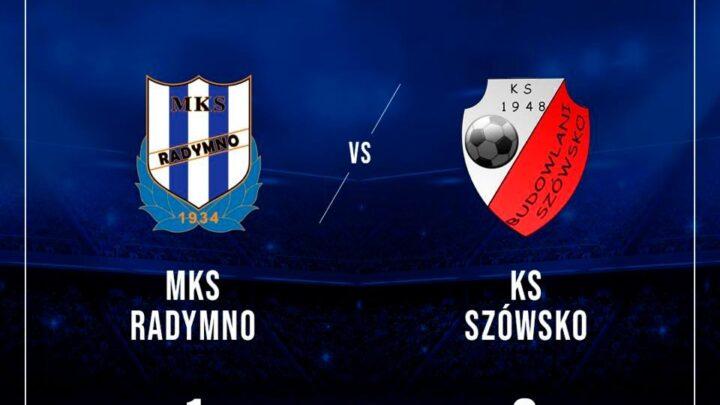 Mecz z KS Szówsko. Wynik spotkania MKS Radymno 1, KS Szówsko 2. Herby obu drużyn