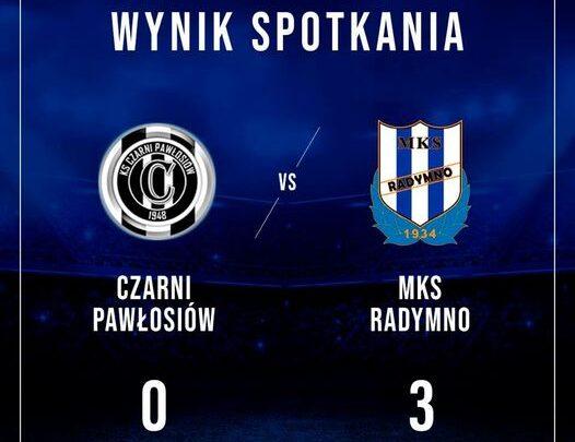 Plansza z wynikiem spotkania Czarni Pawłosiów 0 MKS Radymno 3